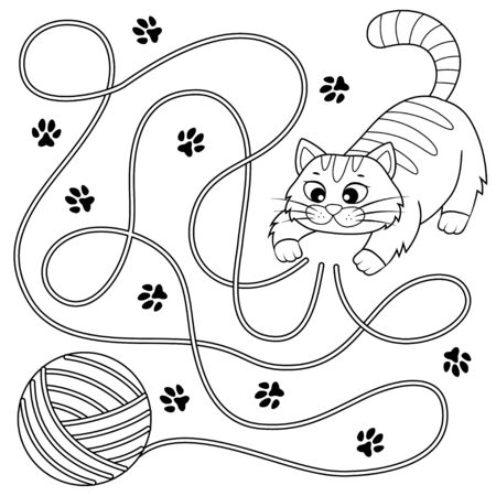 Help little kitten find path to ball of thread. Labyrinth. Maze game for kids. Black and white illustration for coloring book