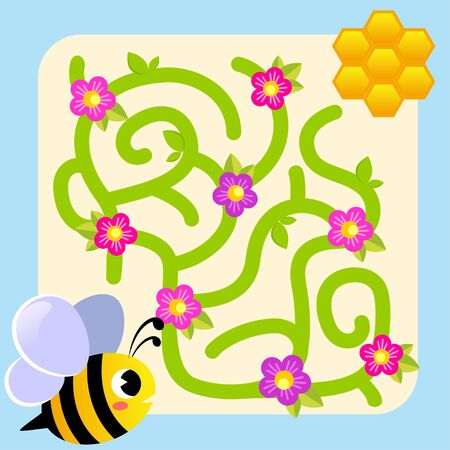 Help bee find path to honeycomb. Labyrinth. Maze game for kids Ilustração