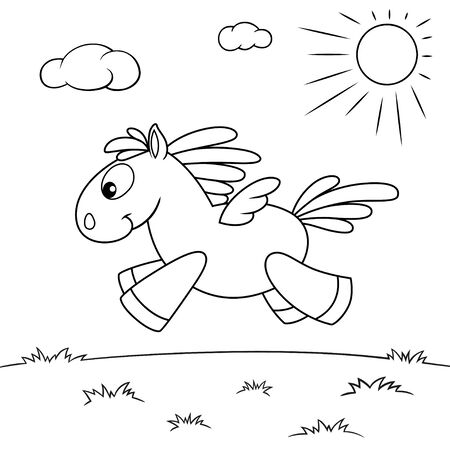 Cute cartoon pegasus. Black and white vector illustration for coloring book