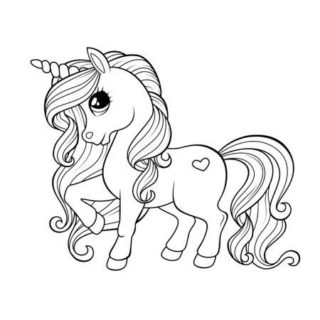 Pequeño unicornio lindo. Ilustración en blanco y negro para colorear libro