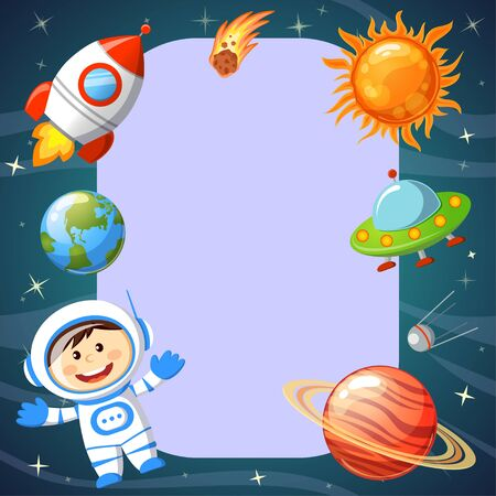 Frame with space theme. Astronaut, Earth, saturn, UFO, rocket, comet, sputnik and stars. Cosmic background Illusztráció
