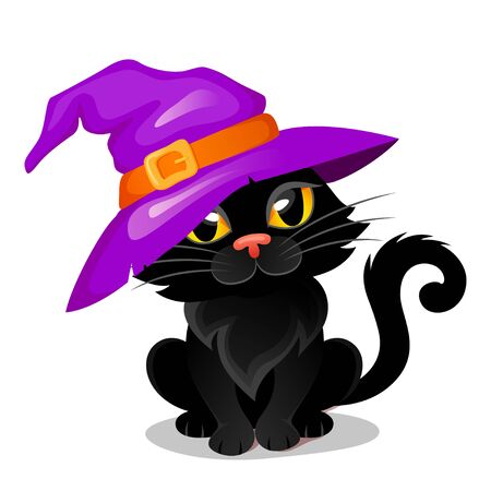 Halloween black cat in a witch hat