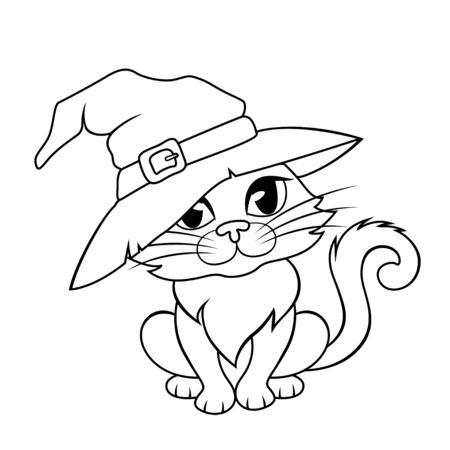 Halloween cat in a witch hat. Black and white illustration for coloring book