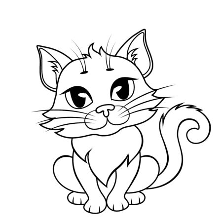 Cute cartoon cat. Black and white illustration for coloring book Illustration