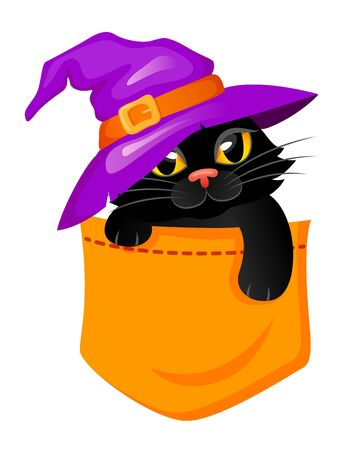 Pocket Cat in a witch hat. Halloween print with kitty for t-shirt