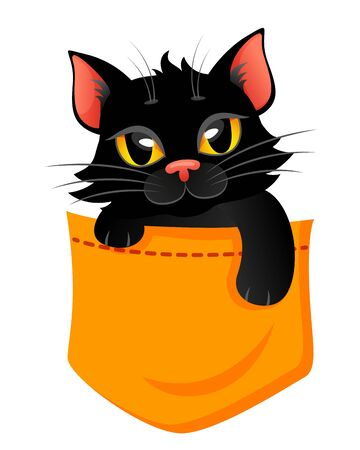 Pocket Cat. Cute print with kitty for t-shirt