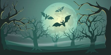 Halloween background with forest, moon and bats