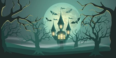 Halloween background with castle in forest, moon and bats