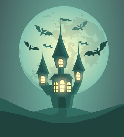 Halloween background with castle, moon and bats