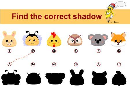 Find correct shadow. Kids educational game. Animals head. Bunny, bee, chicken, owl, koala, fox