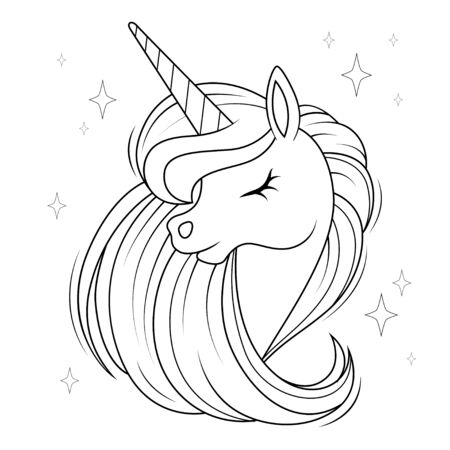 Cute cartoon unicorn head with mane. Black and white vector illustration for coloring book