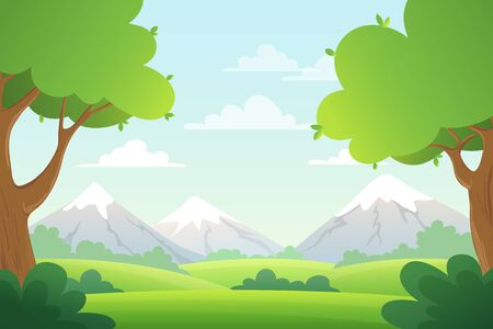 Landscape with trees, bush and mountains. Vector background with green grass and blue sky