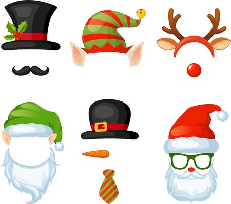 Merry Christmas and Happy New Year. Xmas photo booth. Vector set of christmas hats, glasses, antlers, mustaches
