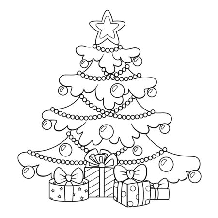 Christmas tree with gifts. Merry Christmas and Happy New Year greeting card template. Black and white vector illustration for coloring book