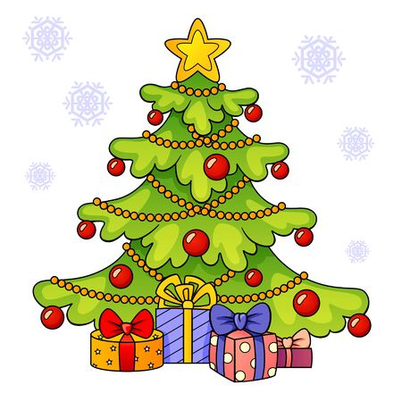 Christmas tree with gifts. Merry Christmas and Happy New Year greeting card template