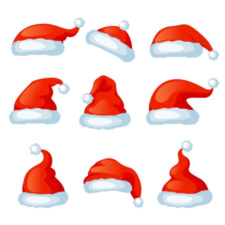 Vector conjunto de gorros rojos de santa. Cabina de fotos de Navidad. Feliz navidad y próspero año nuevo