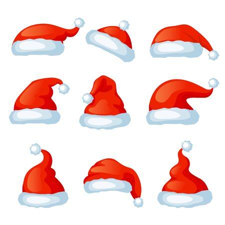 Wektor zestaw czerwonych czapek santa. Świąteczna fotobudka. Wesołych Świąt i Szczęśliwego Nowego Roku