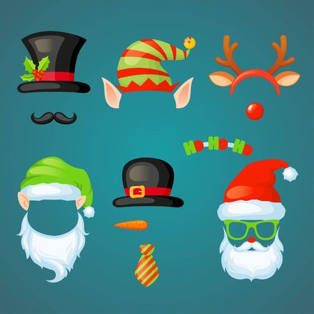 Xmas photo booth. Vector set of christmas hats, glasses, antlers, mustaches. Merry Christmas and Happy New Year Illustration