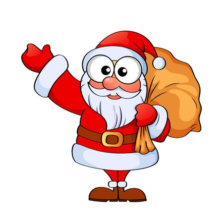 Santa claus with christmas gifts bag