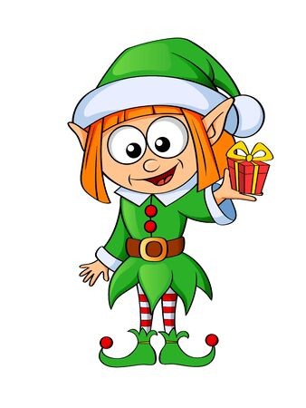 Christmas elf with gift isolated on white background