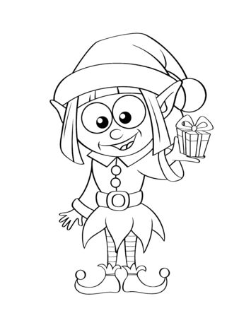 Christmas elf with gift. Black and white vector illustration for coloring book Illustration