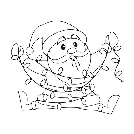 Santa Claus with Christmas lights. Black and white vector illustration for coloring book Illustration