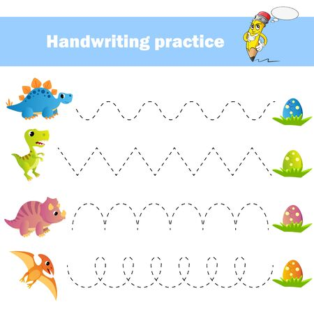 Worksheet for practicing fine kids motor skills. Handwriting practice. Educational game for kids. Dinosaurs