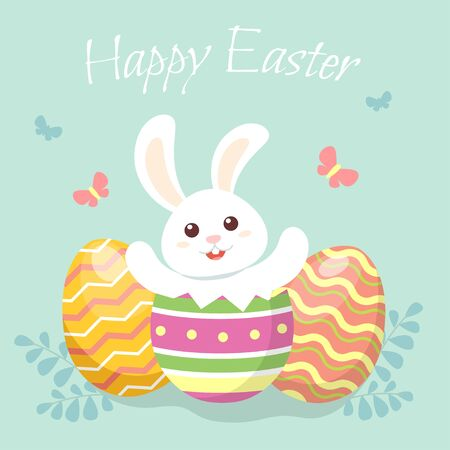Happy easter. Cute little bunny sitting in Easter egg. Greeting card in flat style