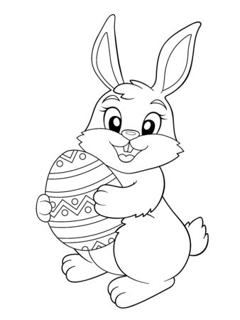 Easter Bunny holding Easter egg. Black and white vector illustration for coloring book