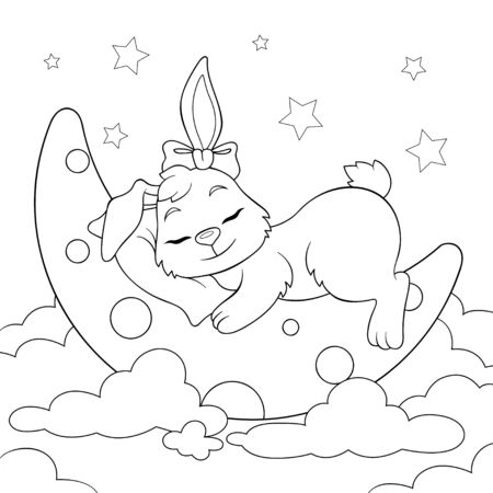 Cute cartoon bunny sleeping on the moon in clouds. Black and white illustration for coloring book
