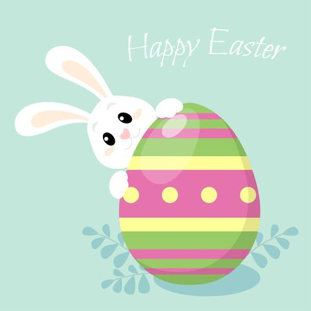 Happy easter. Cute little bunny with Easter egg. Greeting card in flat style 向量圖像