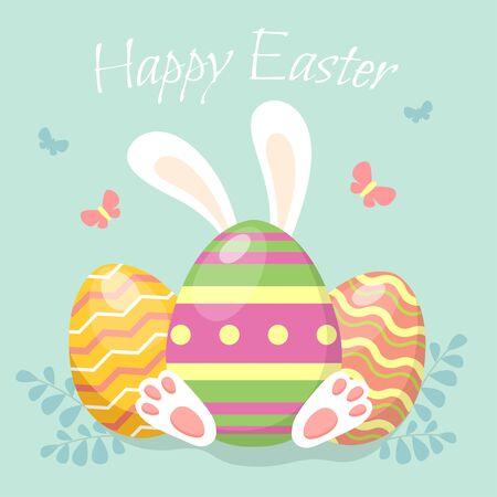 Happy easter. Easter egg with bunnys ears. Greeting card in flat style
