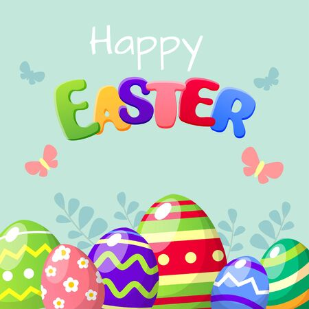 Happy Easter card with colorful Easter eggs 向量圖像