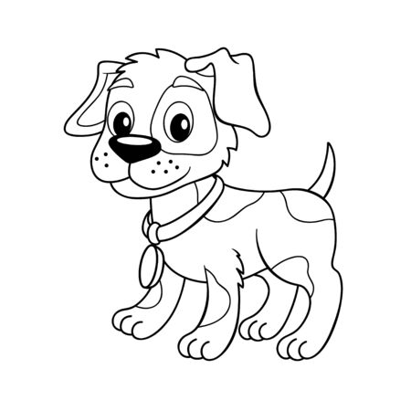 Cute cartoon little dog. Puppy. Black and white vector illustration for coloring book