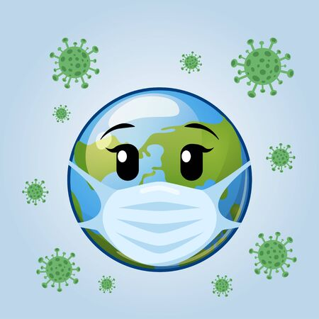 Earth in medical mask. Stop Coronavirus. Covid-19. Stop the global pandemic