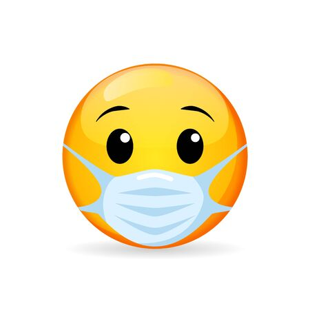 Emoji in medical mask. Emoticon in surgical mask. Stop Coronavirus. Covid-19. Stop the global pandemic
