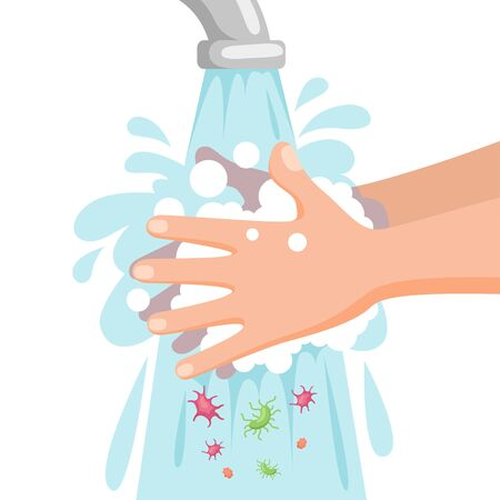 Child washes his hands with soap and foam under running water. Wash your hands concept. Personal hygiene. Prevent viruses and bacterias
