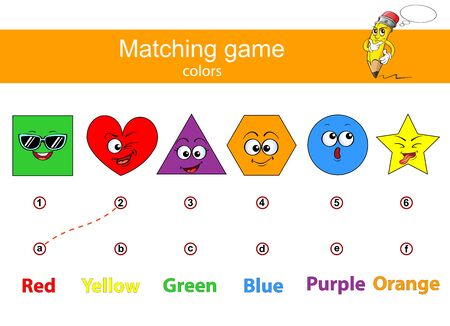 Connect color geometric figures and color names. Learn color names. Educational game for kids. Matching game. Red, orange, yellov, blue, purple, green 向量圖像