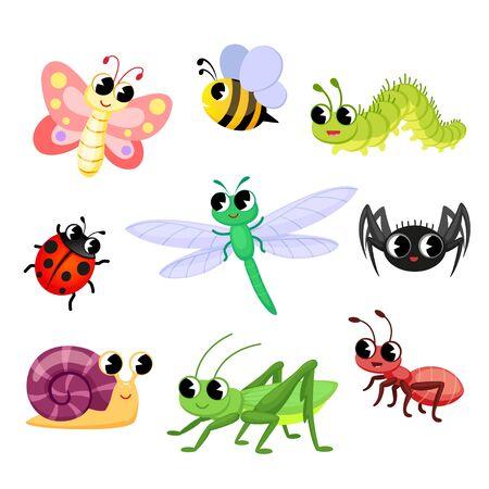 Cute dibujos animados de insectos. Mariposa, hormiga, mariquita, abeja, araña, caracol, oruga, libélula, saltamontes