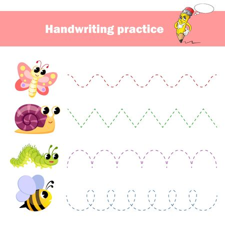 Worksheet for practicing fine kids motor skills. Handwriting practice. Educational game for kids. Insects Butterfly, bee, snail, caterpillar