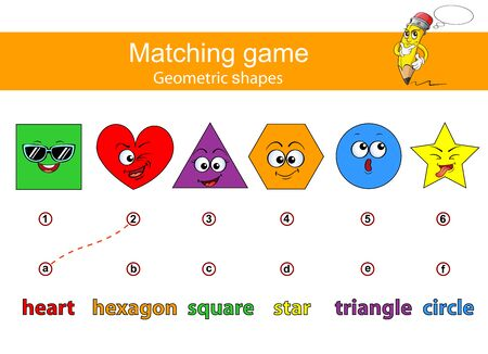 Connect geometric figures and their titles. Learn geometric shapes. Educational game for kids. Matching game. Square, heart, triangle, hexagon, circle, star