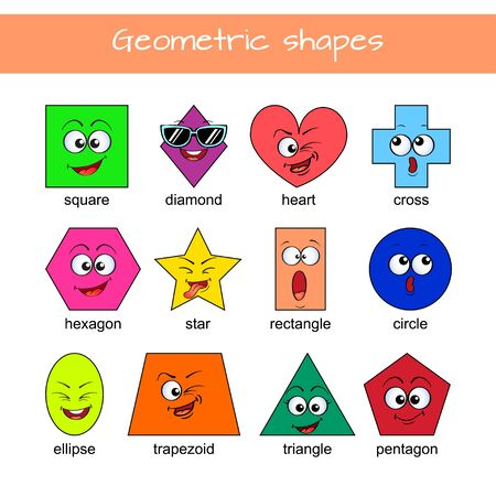 Learn geometric shapes. Geometric shapes with cartoon face. Educational material for preschool kids. Square, heart, triangle, hexagon, circle, star, trapezoid, diamond, cross, rectangle, ellipse, pentagon