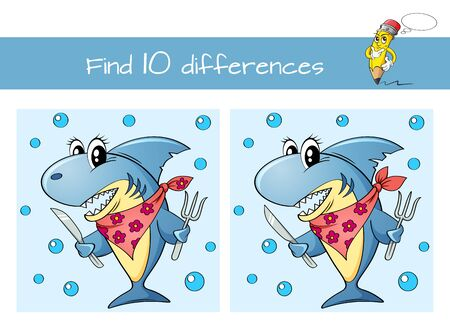 Find ten differences. Educational game for kids. Cute cartoon shark with fork and knife 向量圖像
