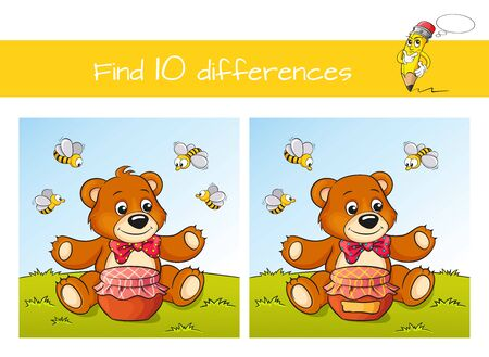 Find ten differences. Educational game for kids. Cute cartoon bear with honey and bees 向量圖像