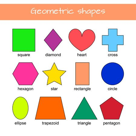 Learn geometric shapes. Educational material for preschool kids. Square, heart, triangle, hexagon, circle, star, trapezoid, diamond, cross, rectangle, ellipse, pentagon