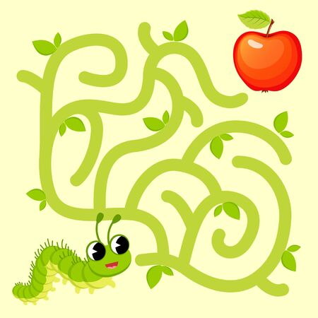 Help caterpillar find path to apple. Labyrinth. Maze game for kids