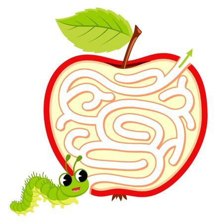 Help caterpillar find path through apple. Labyrinth. Maze game for kids