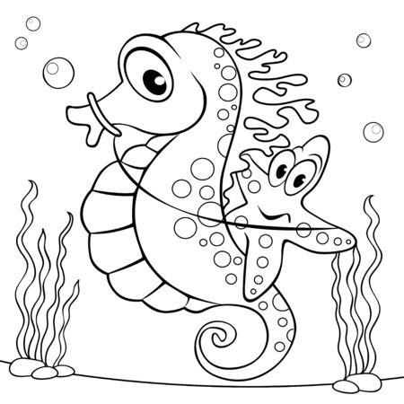Cute cartoon starfish sitting on the seahorse. Black and white vector illustration for coloring book