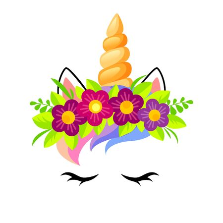 Cute unicorn face with flowers wreath. Girlish print with unicorn for t-shirt. Vector illustration isolated on white background 向量圖像