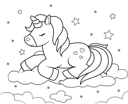 Cute cartoon unicorn sleeping on clouds. Black and white illustration for coloring book